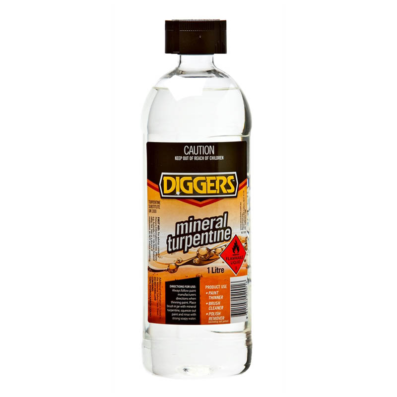 Diggers mineral turpentine - turps for removing paint & polish - 1L bottle