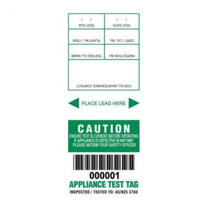 Lumex MM&S appliance test tags - NSW - colour coded