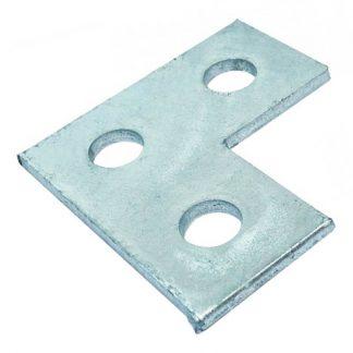 Flat plates - L shape fittings - 3 holes - galvanised