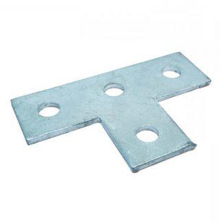 Flat plates - T shape fittings - 4 holes - galvanised